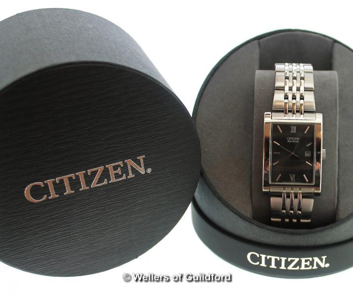 Lot 5007 - *Gentlemen's Citizen Eco-Drive stainless steel wristwatch, rectangular dark grey textured dial, with
