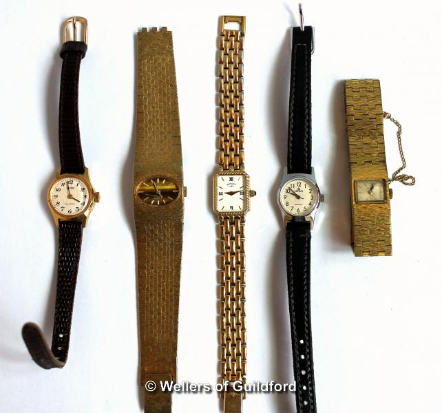 Lot 5042 - Five ladies' wristwatches, including Rotary and Tissot