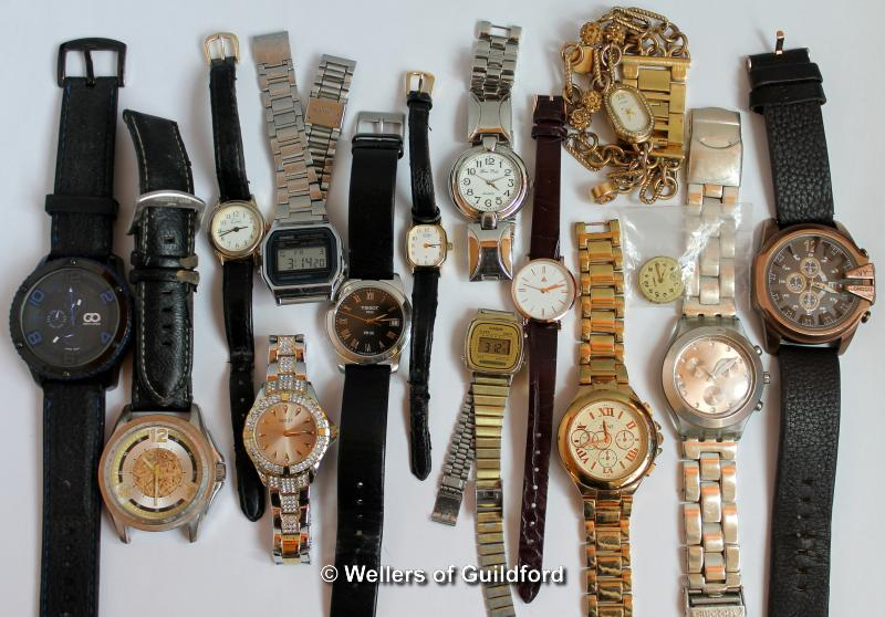 Lot 5010 - *Selection of fourteen mixed wristwatches, including Tissot, Swatch, Casio, and an Eterna watch face