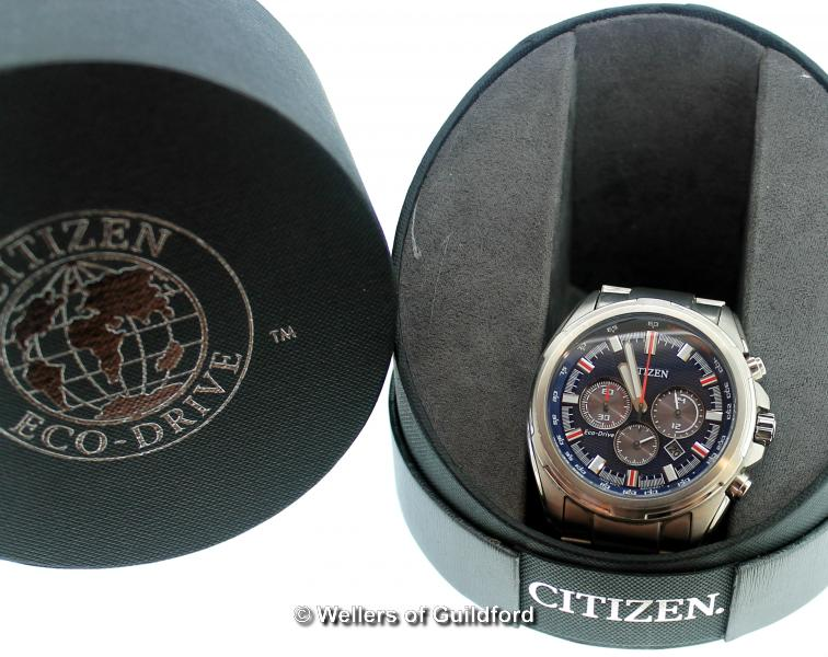 Lot 5002 - *Gentlemen's Citizen Eco-Drive stainless steel wristwatch, circular blue dial with baton hour
