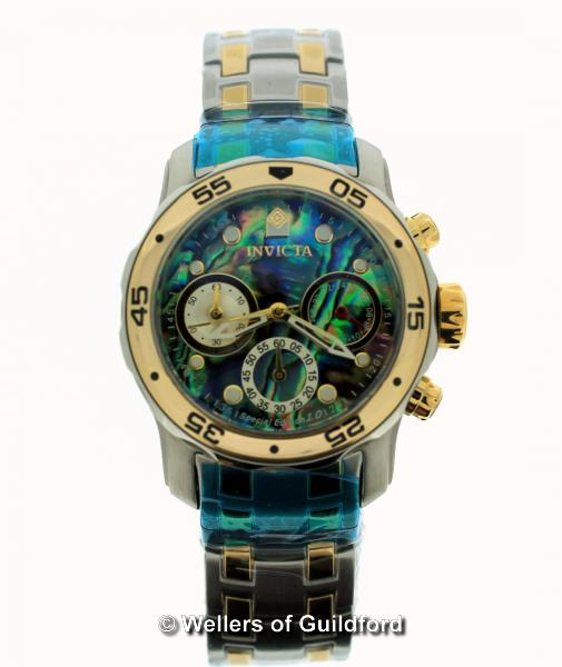 Lot 5024 - *Ladies' Invicta bi-colour stainless steel wristwatch, circular abalone dial, with dot hour