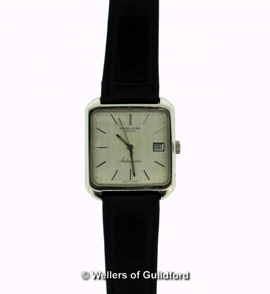 Lot 5027 - *Favre-Leuba automatic wristwatch, square silvered dial, with baton hour markers and date