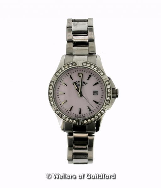 Lot 5004 - *Ladies' Rotary stainless steel wristwatch, circular pink mother of pearl dial, with white stone set