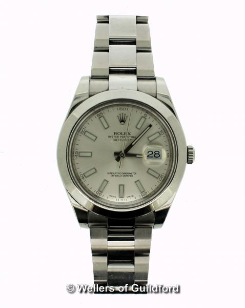 Lot 5020 - *Gentlemen's Rolex Oyster Perpetual Datejust, silvered dial with baton hour markers and date