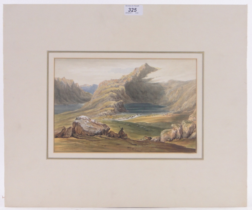 "Lot 325 - 19th century watercolour, traveller in extensive mountain landscape, unsigned, 7.5"" x 11."