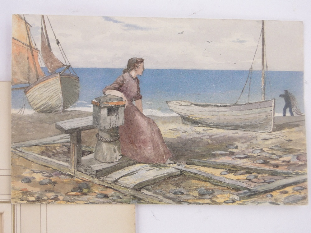 Lot 220 - 19th century watercolour, view over Hastings 1860, unsigned, 7.