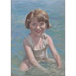 "Lot 221 - Arthur de Tivoli, oil on board, child at the seashore, signed, 13"" x 9.5"", framed."