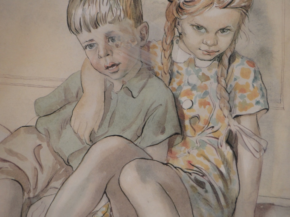 Lot 326 - Raymond Sheppard (1913-1958), watercolour, Michael and Christine in the front room, circa 1950,