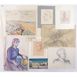 Lot 217 - Folder of watercolours and drawings, including works by Albert Taylor, G Marler and A Thomson, (12).
