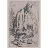 "Lot 327 - After Rembrandt, etching, a beggar published 1880, plate size 4.5"" x 3"", framed."