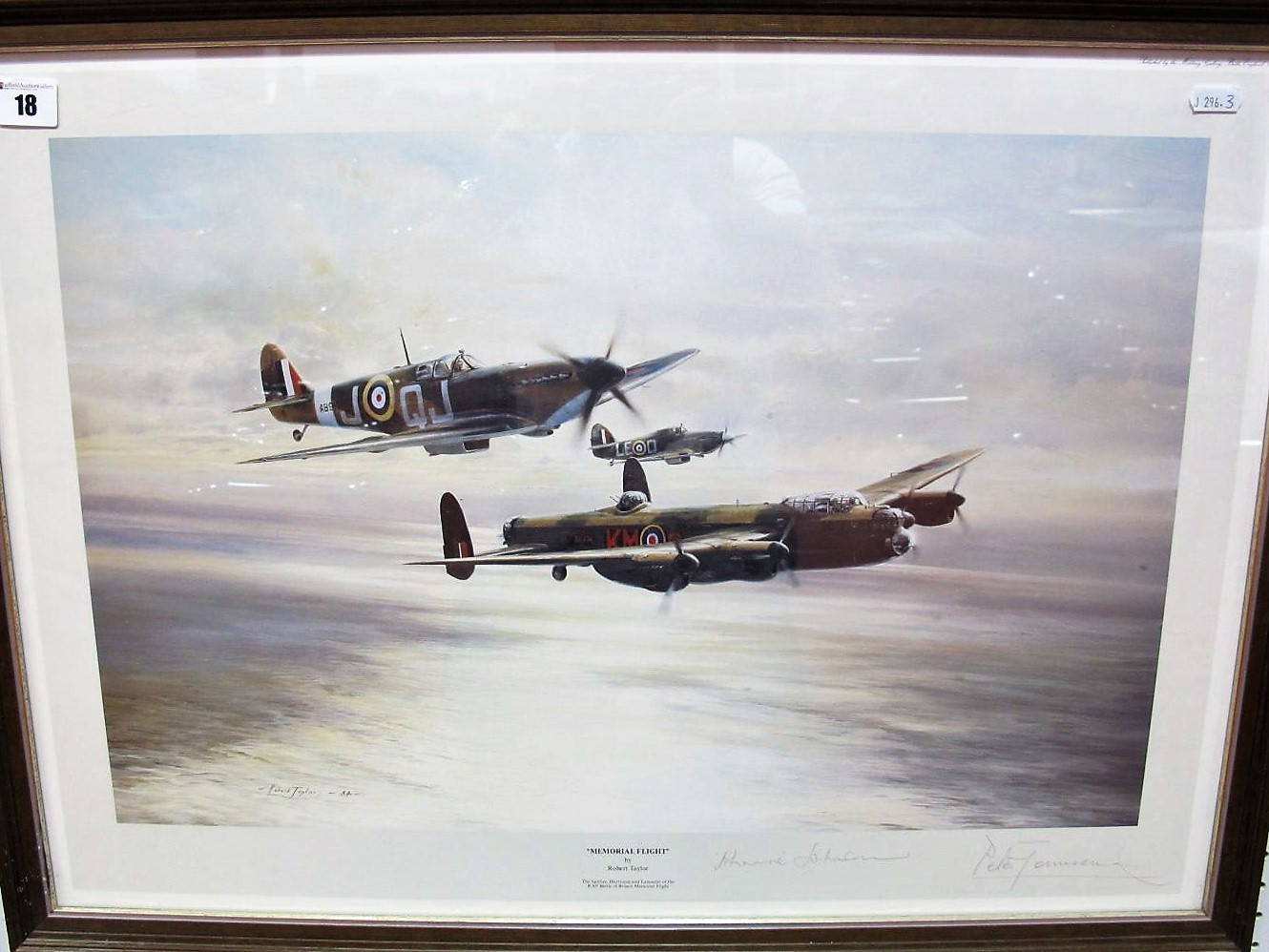 """Lot 18 - After Robert Taylor, """"Memorial Flight"""",colour print, graphite signed by pilots Johnnie Johnson and"""