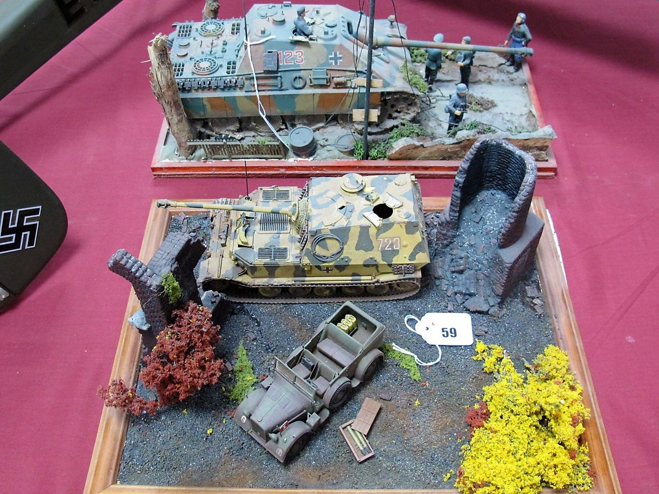 Lot 59 - Two Highly Detailed and Very Well Built Second World War Dioramas, one depicting a Panzer tank at