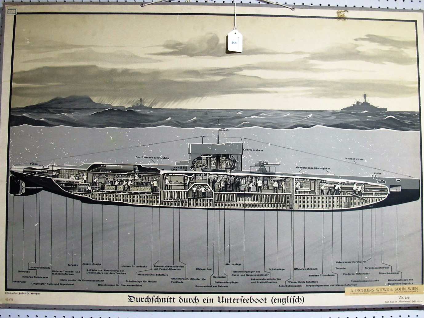 Lot 2 - A Mid 1930's Educational German Poster, showing the cutaway of a British submarine, by A. Pichlers