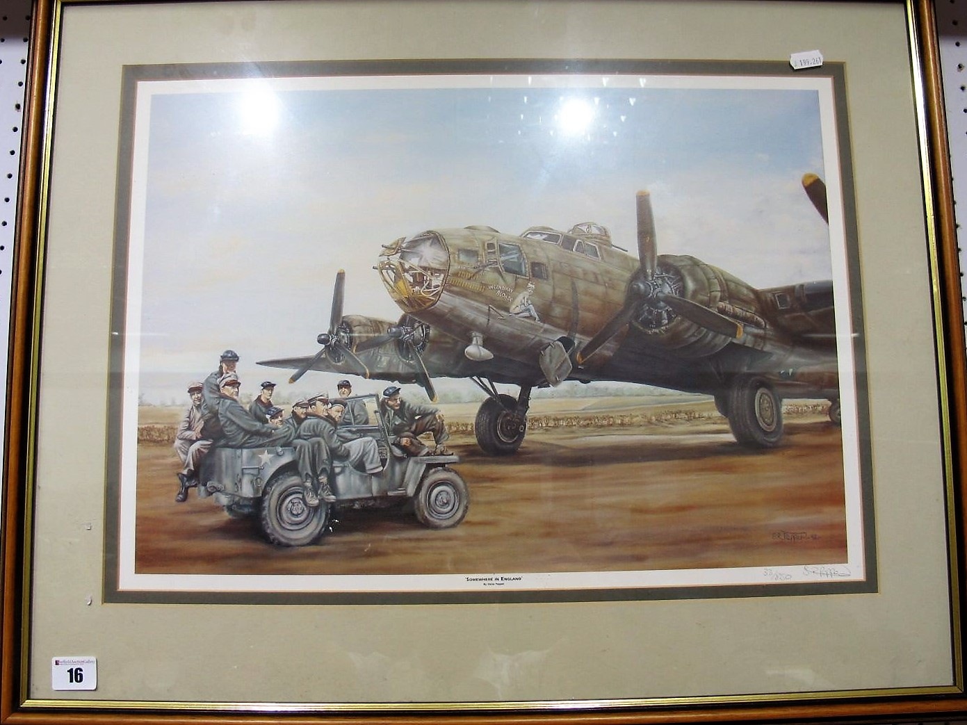 Lot 16 - After 'SR Pepper- Somewhere In England', study of a flying fortress and crew, graphite signed by