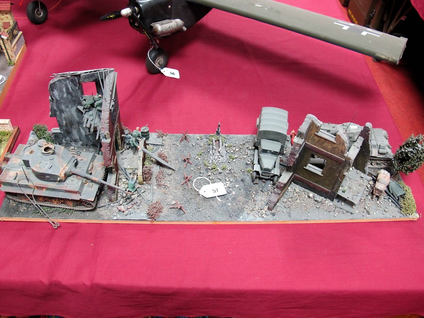 Lot 57 - A Highly Detailed and Very Well Built Second World War Diorama, depicting German and Russian tanks