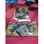 Two Highly Detailed and Very Well Built Second World War Dioramas, one depicting a downed and