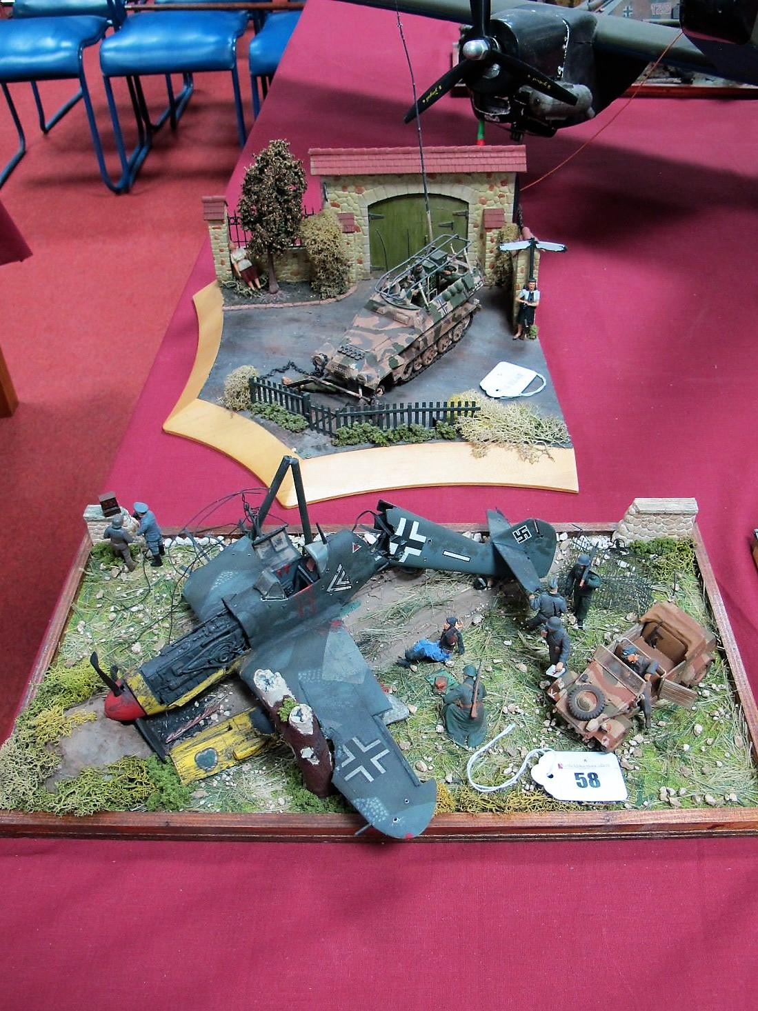 Lot 58 - Two Highly Detailed and Very Well Built Second World War Dioramas, one depicting a downed and