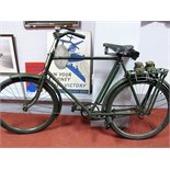 A WWII Phillips MKV Military Roadster Bicycle, roller lever brakes front and rear, parcel rack,