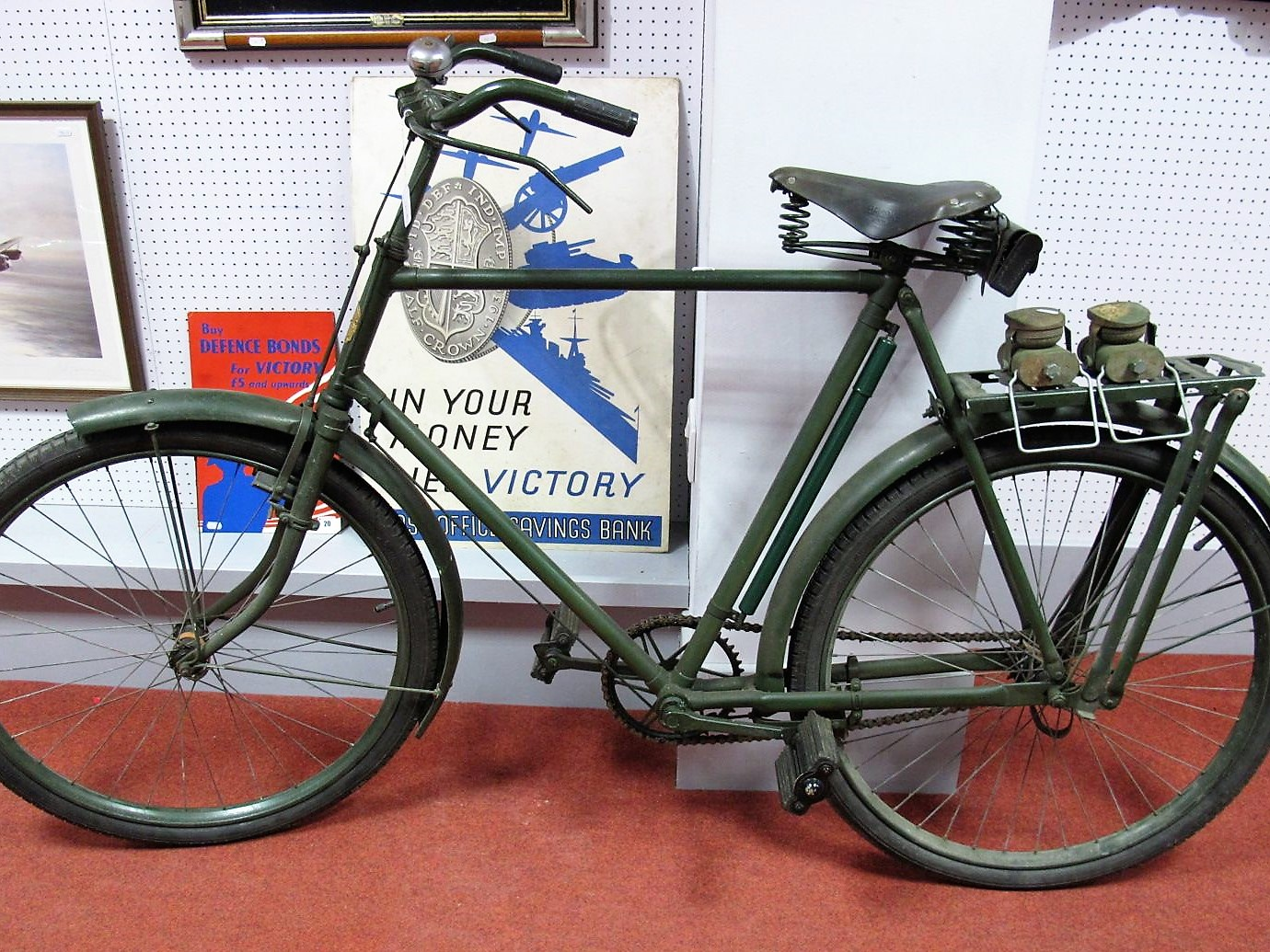 Lot 21 - A WWII Phillips MKV Military Roadster Bicycle, roller lever brakes front and rear, parcel rack,