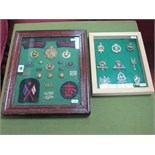 Two Framed Military Cap Badge, Button and Cloth Patch Collections, including Royal Marines, Irish