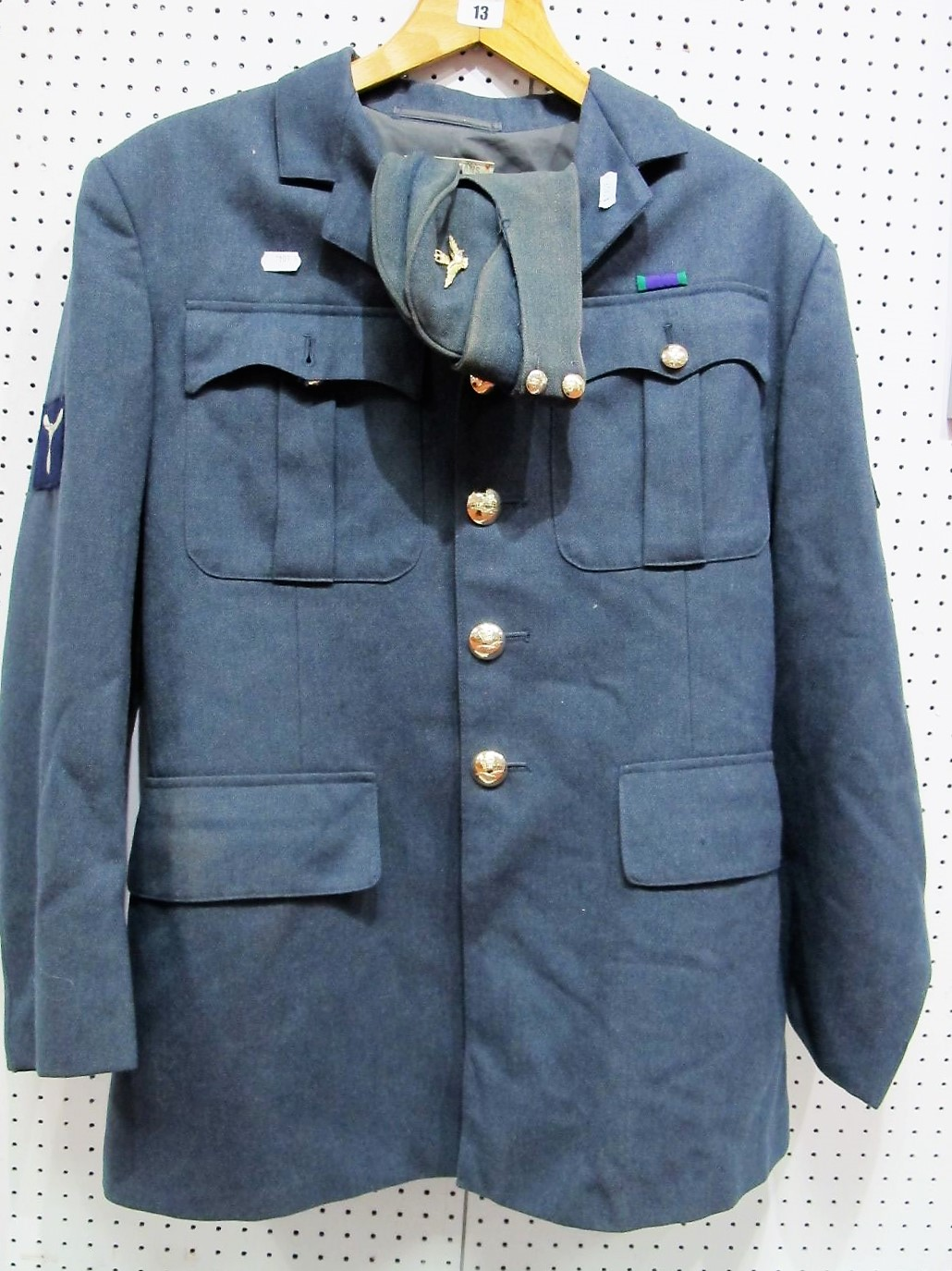 Lot 13 - A Mid XX Century R.A.F No. 1 Uniform Jacket, with G.S.M medal ribbon; Plus Worn R.A.F Forage Cap. (