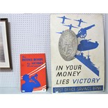 Two Standing Second World War Cardboard Signs, 'In Your Money Lies' Victory' Post Office savings