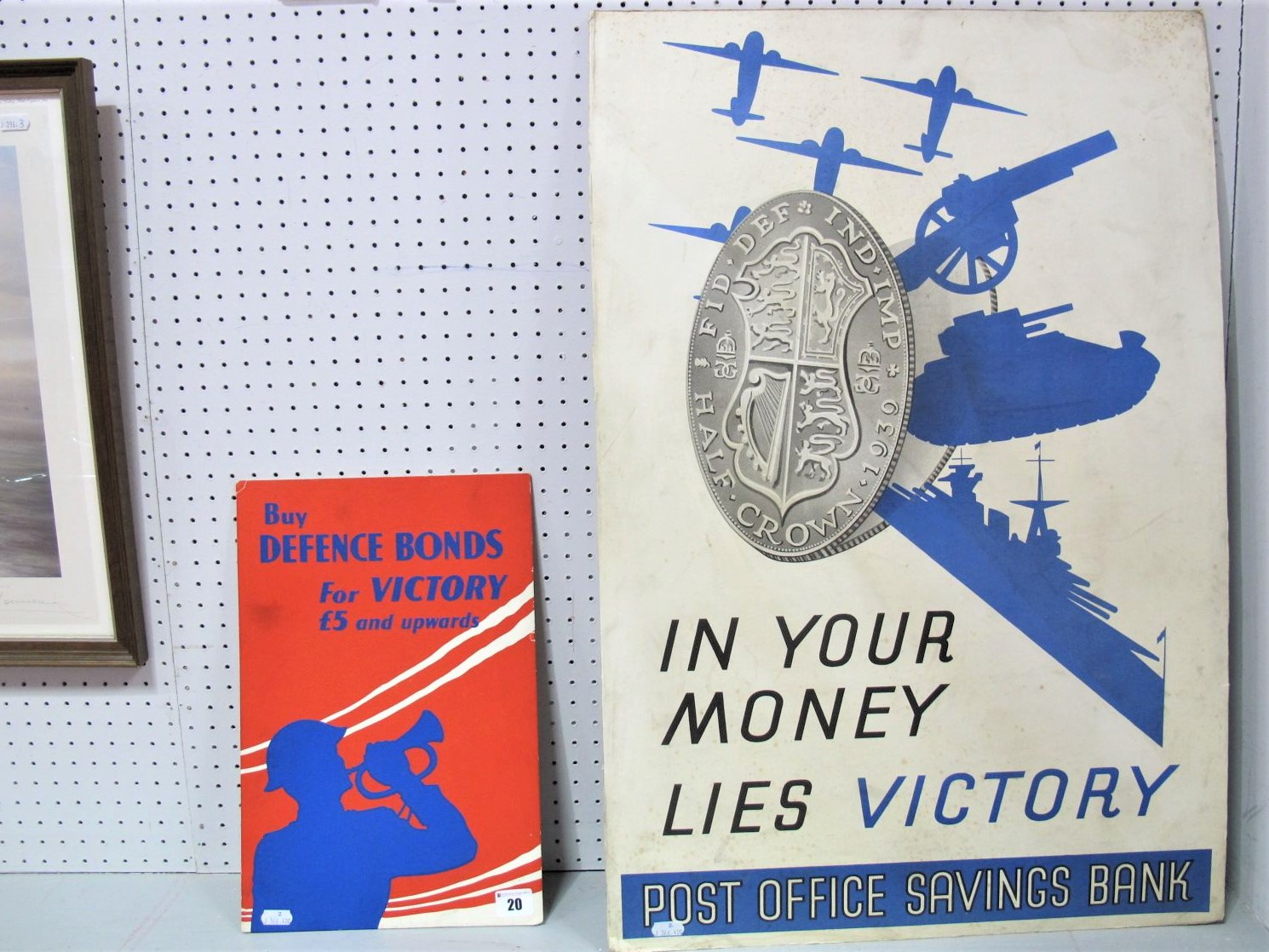 Lot 20 - Two Standing Second World War Cardboard Signs, 'In Your Money Lies' Victory' Post Office savings