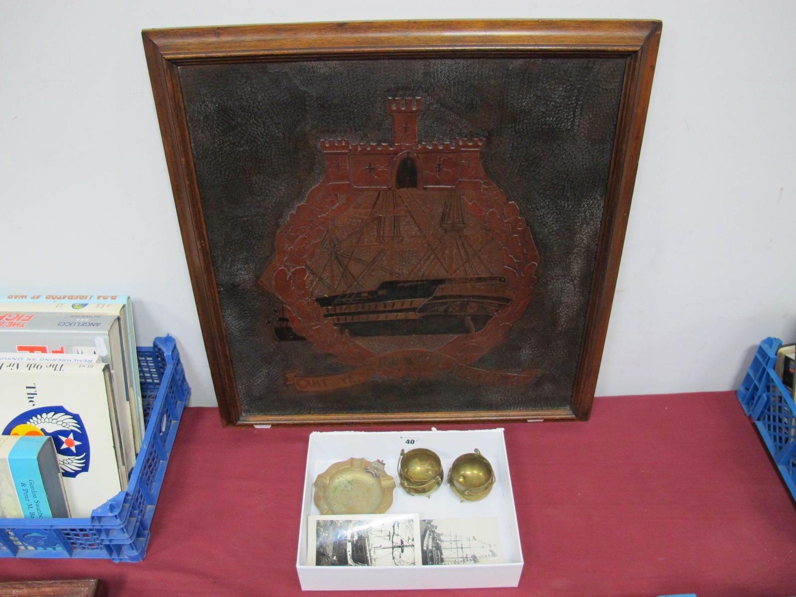 Lot 40 - HMS Conway Interest, A Framed Leather Crest, 54 x 58cms, three pieces of Crested Ware, an ashtray