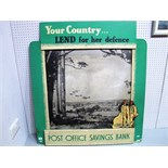 A Wooden Second World War Post Office Savings Bank Sign, 'Your Country Lend for Her Defence. 100cm