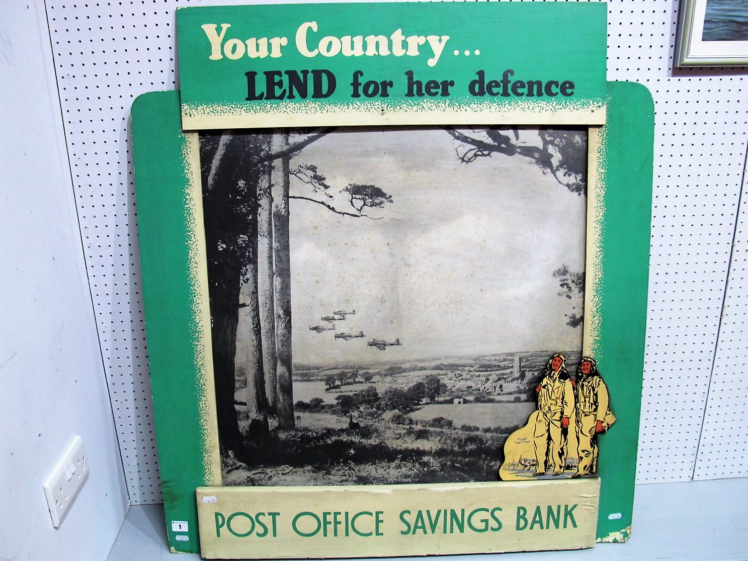 Lot 1 - A Wooden Second World War Post Office Savings Bank Sign, 'Your Country Lend for Her Defence. 100cm