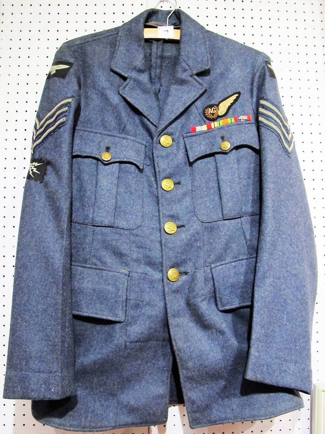 Lot 12 - LOT WITHDRAWN - A 1949 RAF Sergeant Air Gunner Tunic, size 7, complete with medal ribbons, all