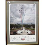 Print- Red Arrows Over The Mall in 2008, signed by pilots, framed.