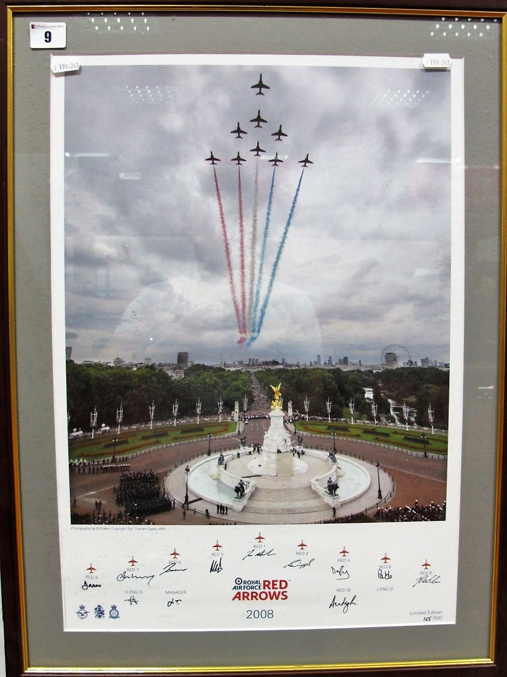 Lot 9 - Print- Red Arrows Over The Mall in 2008, signed by pilots, framed.