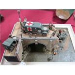 A Highly Detailed and Very Well Built Second World War Diorama, depicting a destroyed bridge with