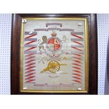 An Early XX Century Silk to 30th Battery Royal Field Artillery, framed.