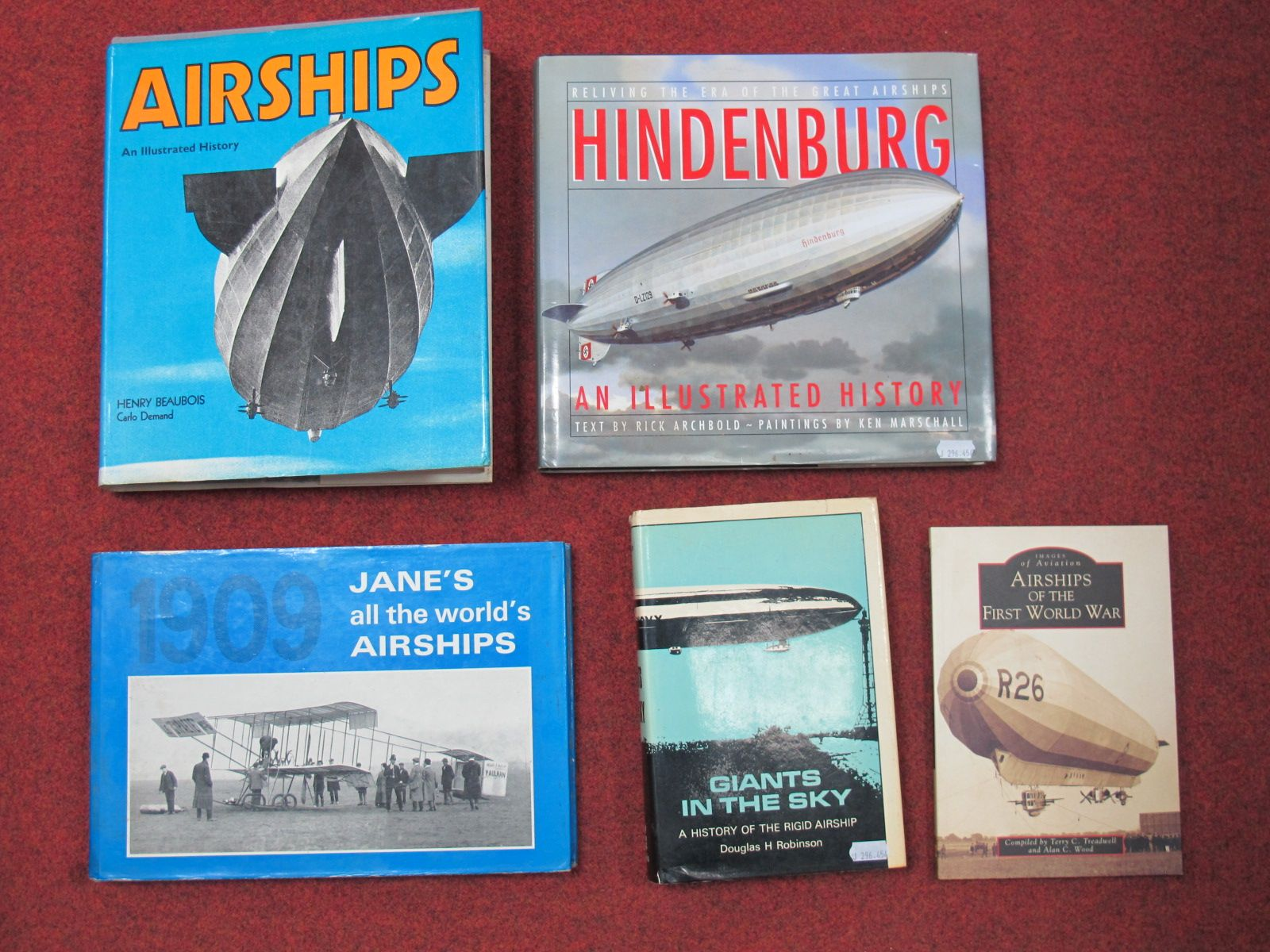 Lot 50 - Five Airships Themed Books, borh hardback and softback including Macdonald and Jane's (1974)