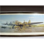 "After Russel Denny, ""B17F Flying Fortress ""Idiot's Delight"""", colour print , framed, 32 x 82cm."
