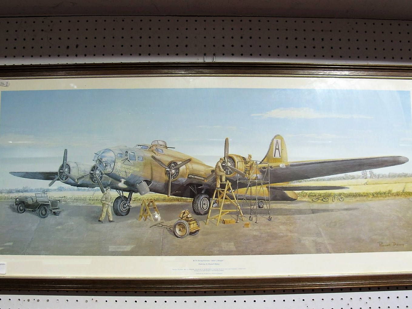 """Lot 3 - After Russel Denny, """"B17F Flying Fortress """"Idiot's Delight"""""""", colour print , framed, 32 x 82cm."""