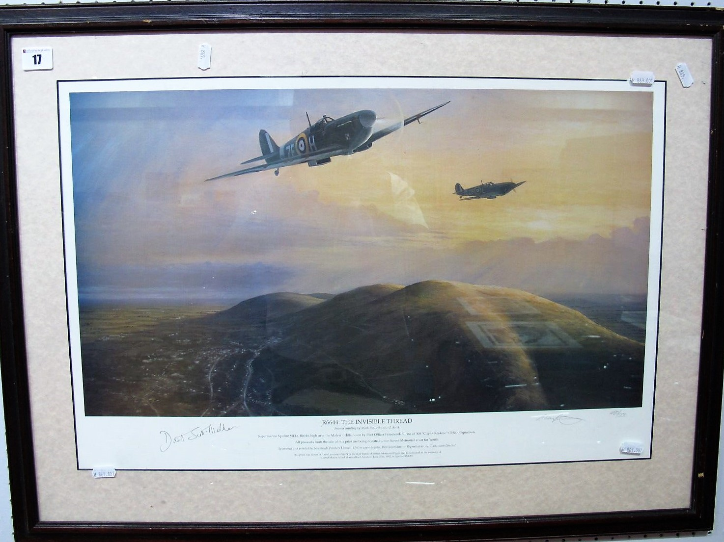 Lot 17 - After Mark Postlethwaite- 'R6644, The Invisible Thread', Spitfire's over the Malvern Hills, graphite