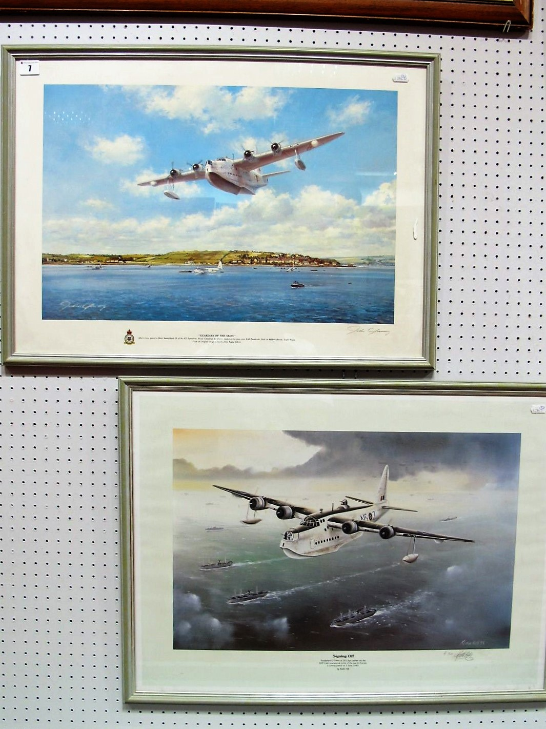 """Lot 7 - After John Young, """"Guardian Of The Skies"""", colour print, graphite signed, framed, 37 x 56cm;"""