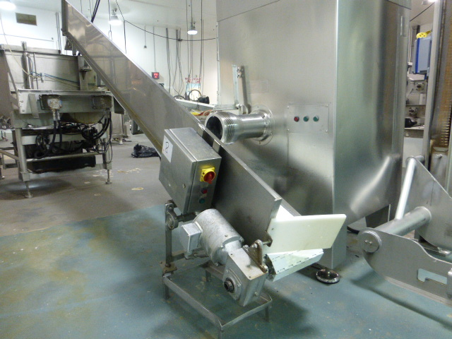 Lot 8 - s/s incline conveyor with plastic flat top belting, 1 ft. x 12 ft. with s/s motor