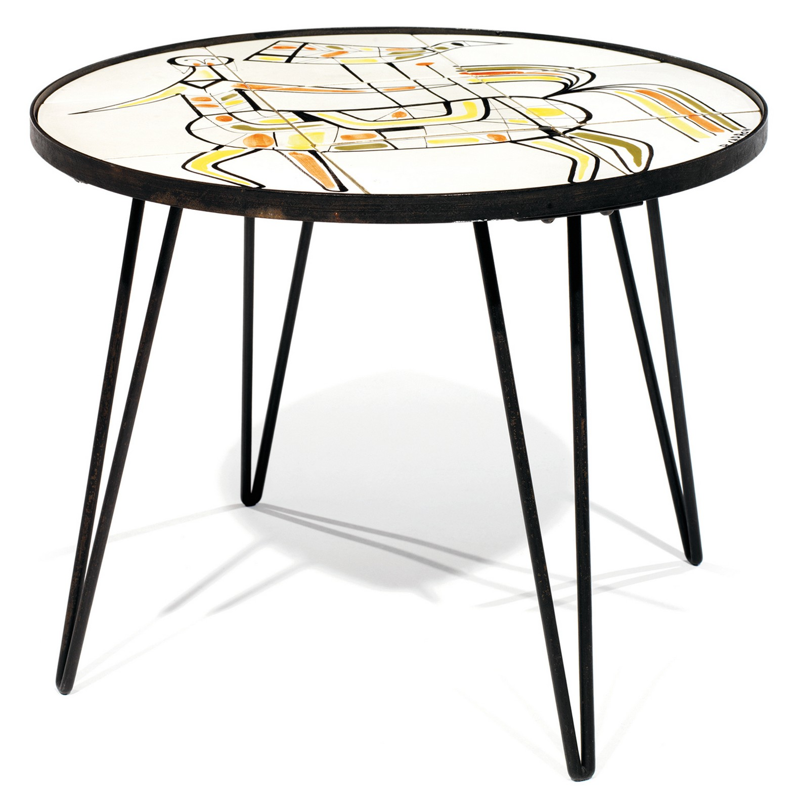 Roger capron 1922 2006 table basse circulaire quadripode structure m talli - Table basse metallique ...