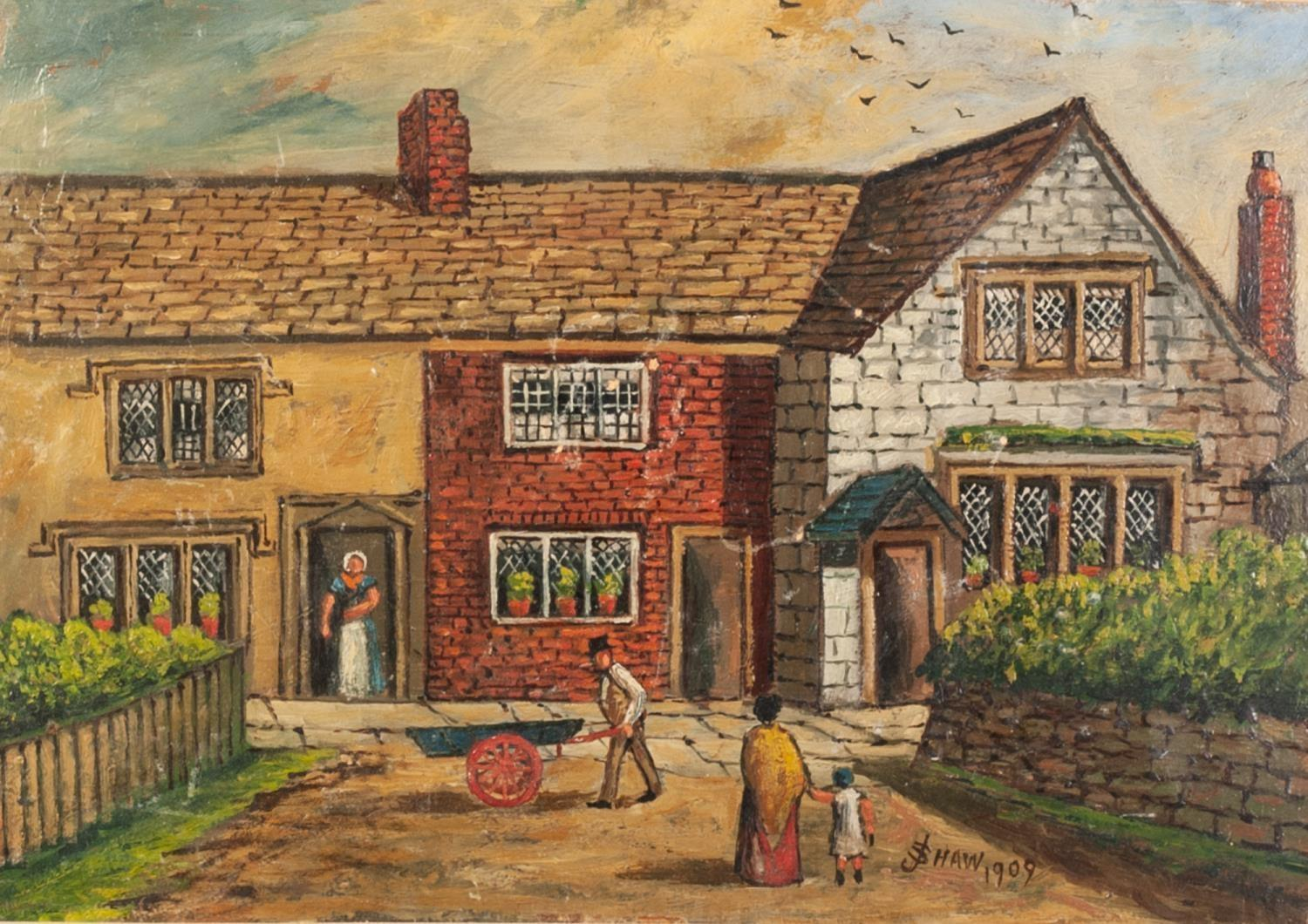 J SHAW 20th CENTURY OIL PAINTING Bygone street scene, figures by shops and public house top of - Image 2 of 2