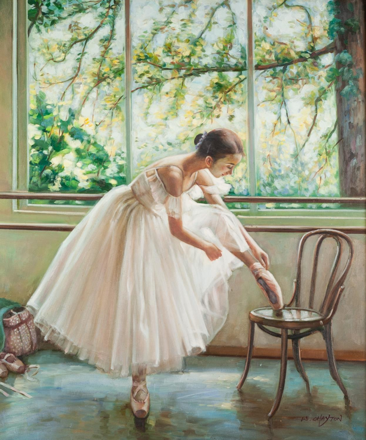 W. CHAYTON (MODERN) OIL PAINTING ON CANVAS Figure study of a ballerina with foot raised on a chair