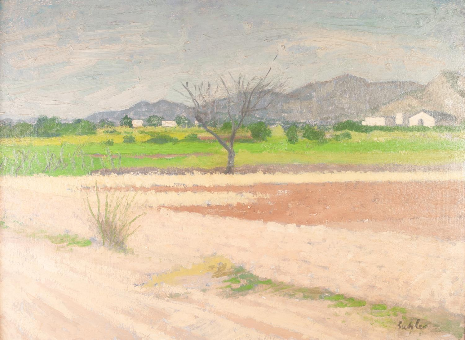 ROBERT BUHLER (1916-1989) OIL ON BOARD ?Benicassim, nr. Castellone Depa Plana, Spain? Signed, titled