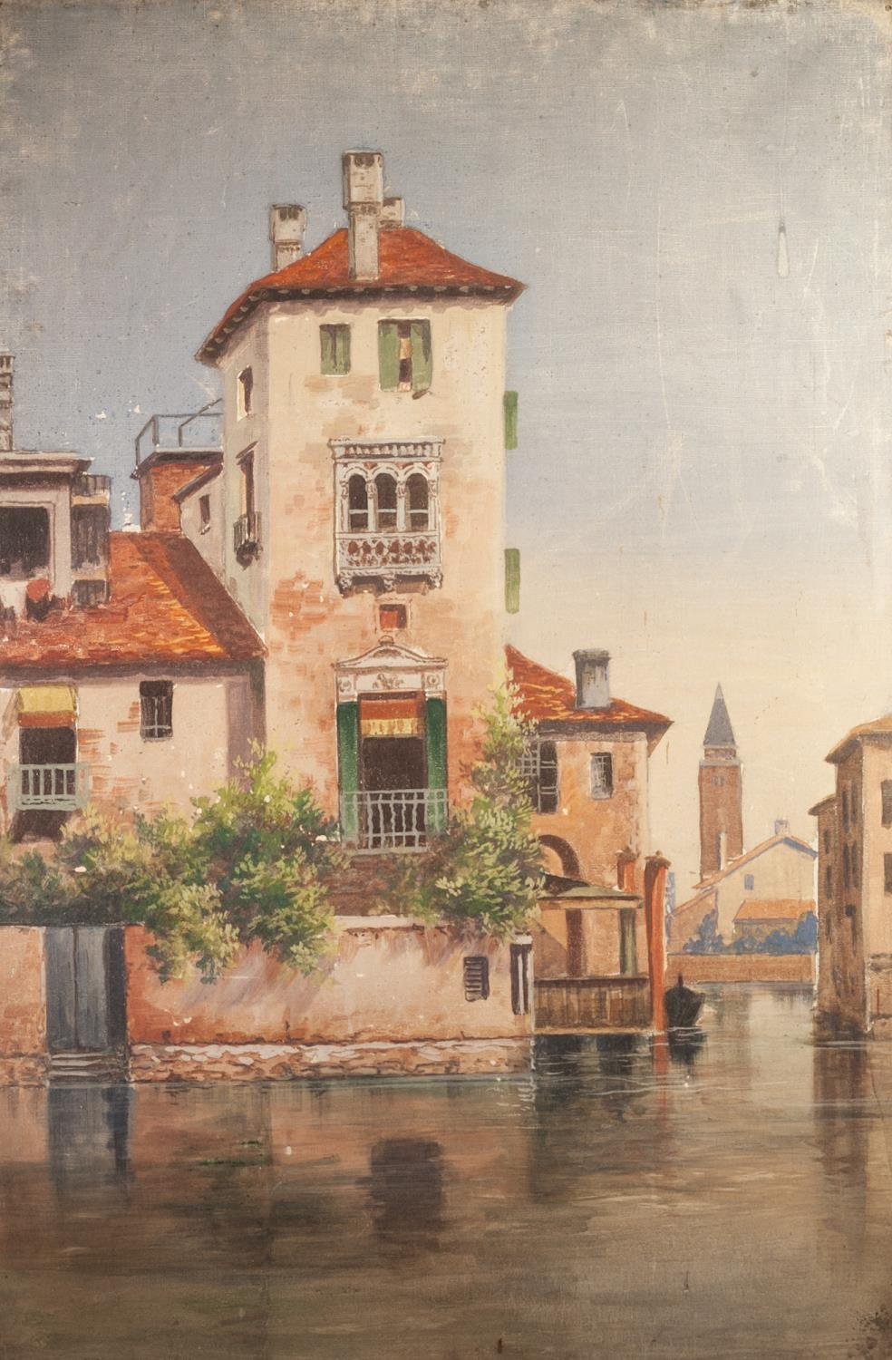 """BRITISH SCHOOL (LATE 19th CENTURY) OIL PAINTING ON CANVAS A pair Venetian back-waters 36"""" x 24"""" ( - Image 2 of 2"""