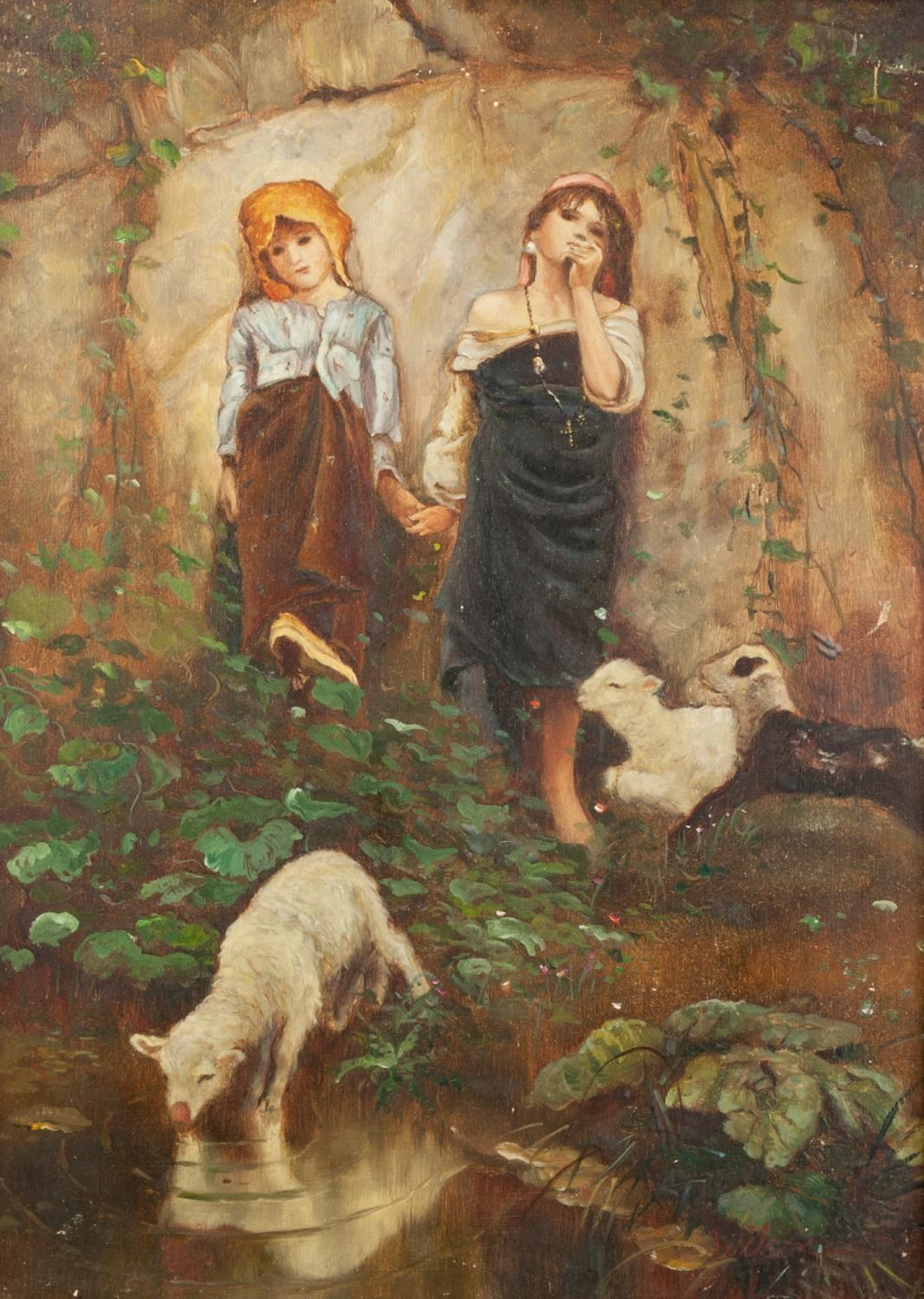FROM THE ORIGINAL, MID 20th CENTURY OIL PAINTING ON PANEL Two children by a pond with lambs, one