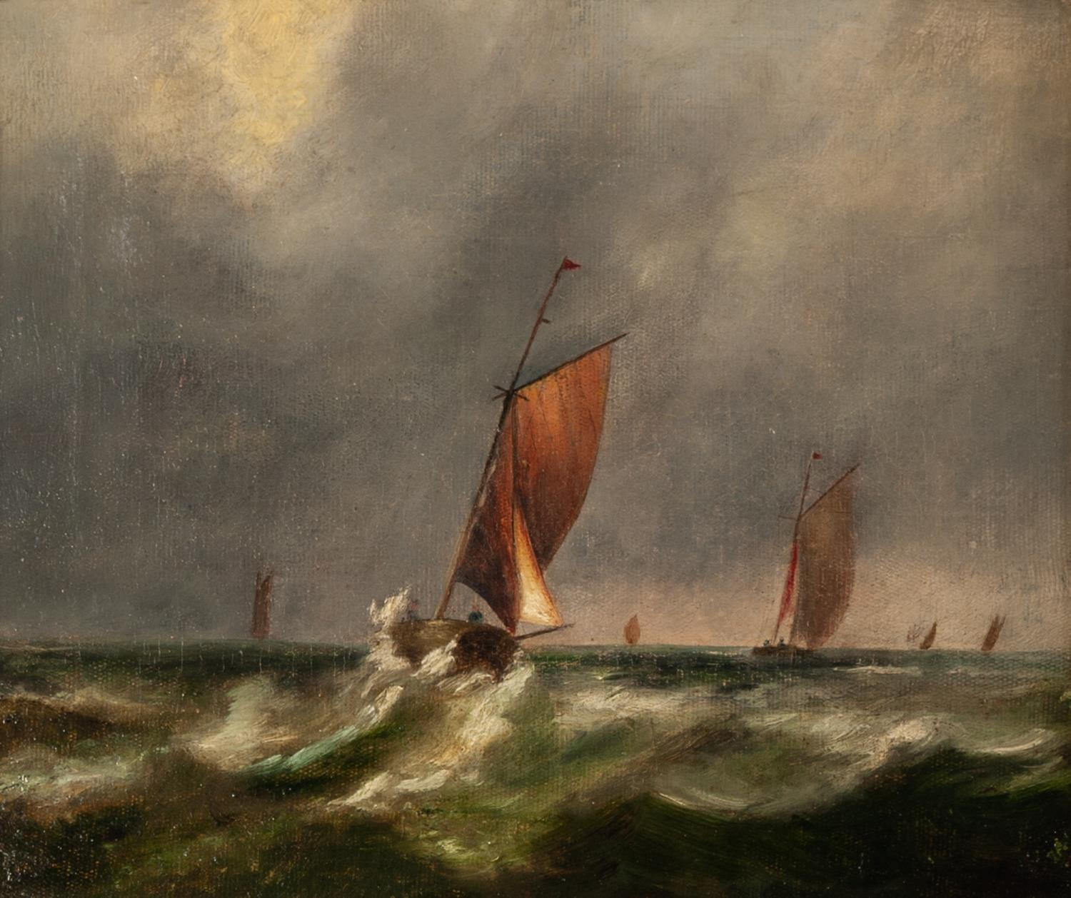 UNATTRIBUTED (NINETEENTH CENTURY ENGLISH SCHOOL) OIL PAINTING ON CANVAS Small sailing vessels in