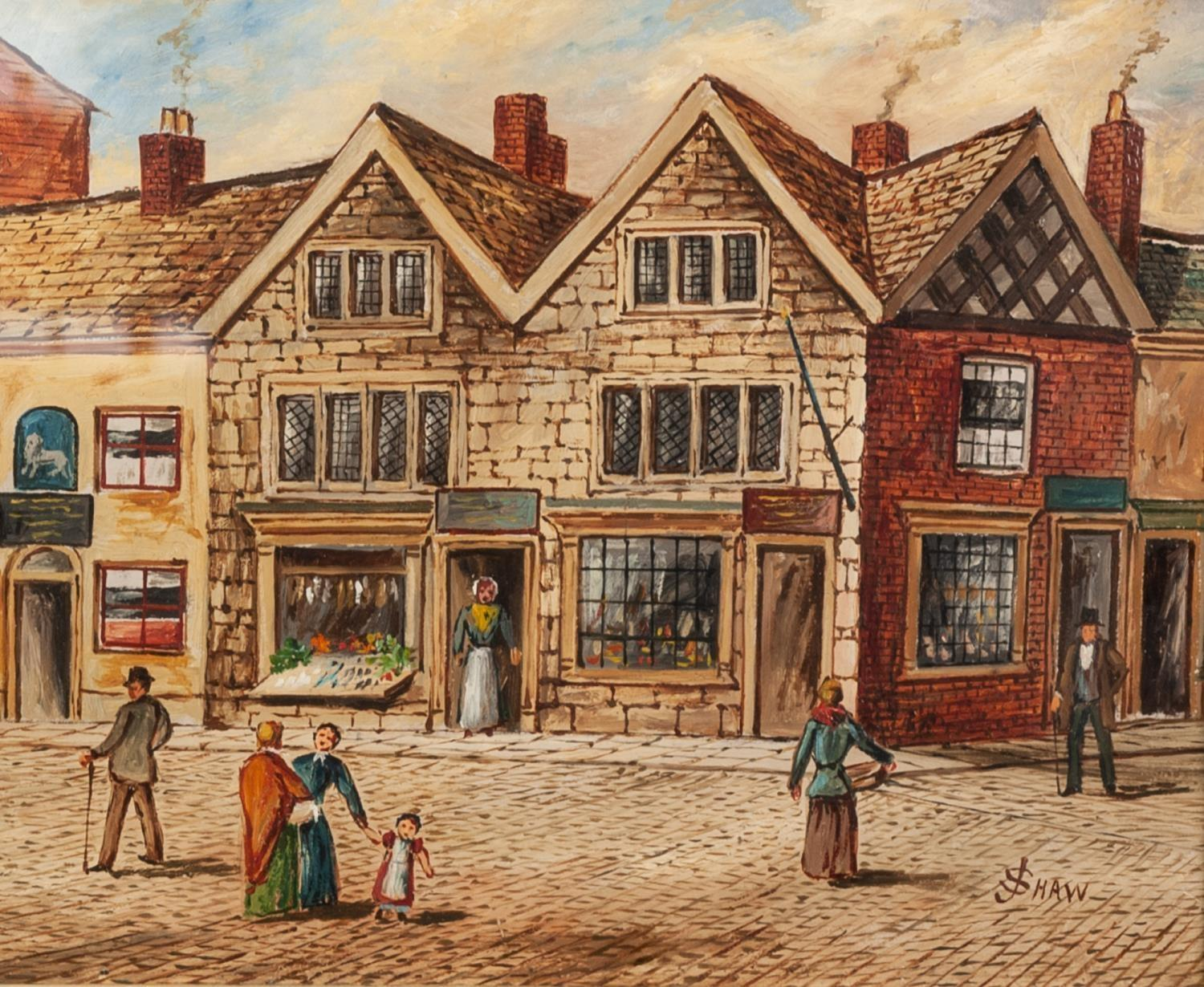 J SHAW 20th CENTURY OIL PAINTING Bygone street scene, figures by shops and public house top of