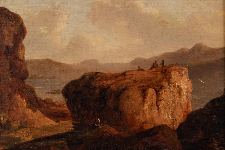 UNATTRIBUTED (NINETEENTH CENTURY IRISH SCHOOL) OIL PAINTING LAID ON BOARD Figures in a mountainous